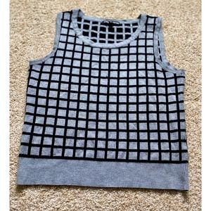 Cable & Gauge women small gray black sleeveles top